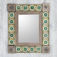 Tin and ceramic wall mirror, 'Mexican Meadow' (medium) - Handmade Mexican Floral Ceramic Tin Wall Mirror (Medium)