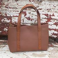 Leather tote handbag, 'Modern Chic' - Handcrafted Two-Tone Brown Leather Tote Bag from Mexico