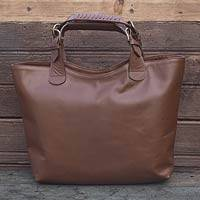 Leather tote handbag, 'Generosity' - Sleek Brown Leather Large Tote Handbag from Mexico