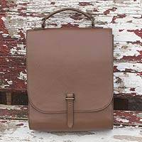 Leather briefcase, 'Discoverer' - Quality Brown Leather Briefcase with Multiple Pockets