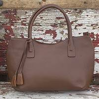 Leather baguette handbag, 'Casual Chic' - Handcrafted Large Brown Leather Baguette Bag from Mexico