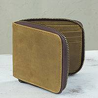 Men's leather wallet, 'Safeguard' - Mexican Handmade Amber Leather Wallet with Secure Zippered C