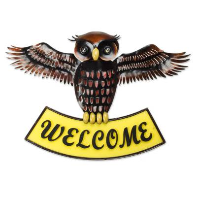 Artisan Crafted Iron Wall Welcome Sign from Mexico