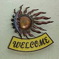 Iron welcome sign, 'High Wind Eclipse' - Hand Crafted Mexican Eclipse Iron Welcome Sign for Wall