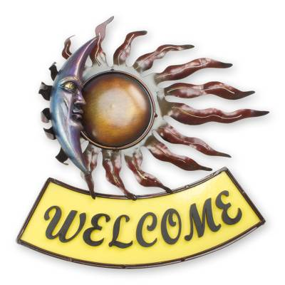 Hand Crafted Mexican Eclipse Iron Welcome Sign for Wall