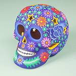 Colorful Ceramic Day of the Dead Skull Sculpture from Mexico, 'Deadly Beauty'