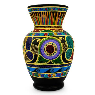Ceramic vase, 'Nahua Doves' - Colorful Handcrafted Ceramic Vase from Mexico