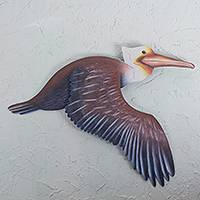 Steel wall art, 'Sayulita Pelican' - Mexican Brown Pelican Steel Sculpture for the Wall