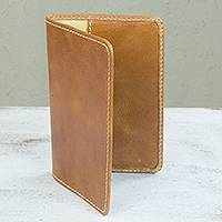 Leather passport case Honey Camel Mexico