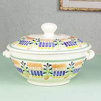 Majolica ceramic soup bowl, 'Acapulco' - Lidded Soup Bowl Hand Crafted in Majolica Ceramic Pottery