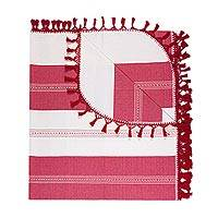 Zapotec cotton bedspread, 'Sweet Oaxaca' (king) - Hand Woven King Size Cotton Bedspread in Pink and Beige