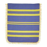 Zapotec cotton bedspread, 'Zapotec Coast' (king) - Hand Woven Blue Yellow Striped Cotton Bedspread King Size