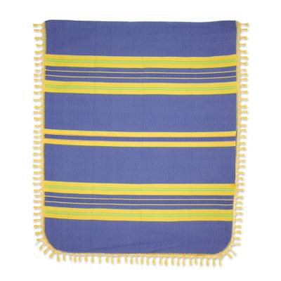 Zapotec cotton bedspread, 'Zapotec Coast' (twin) - Hand Woven Blue Yellow Striped Cotton Bedspread Twin Size