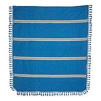 Zapotec cotton bedspread, 'Oaxaca Ocean' (king) - Hand Woven Blue Cotton Wool Bedspread King Size