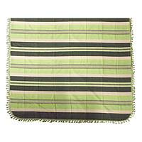 Zapotec cotton bedspread, 'Green Fields of Oaxaca' (king) - Hand Woven Green Striped Cotton Bedspread King Size