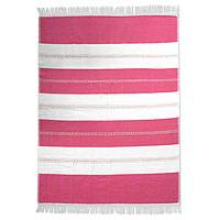 Zapotec cotton tablecloth, 'Sweet Oaxaca' - Hand Loomed Zapotec Cotton Pink and Beige Tablecloth