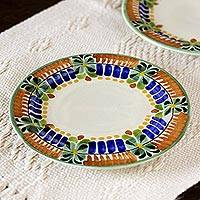 Majolica ceramic dessert plates, 'Acapulco' (pair) (Mexico)