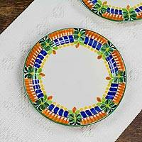 Majolica ceramic side plates, 'Acapulco' (pair) - Side Plates Hand Crafted in Majolica Ceramic Pottery (Pair)