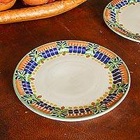 Majolica ceramic dinner plates, 'Acapulco' (pair) (Mexico)