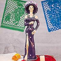 Ceramic sculpture, 'Catrina in Purple' - Handcrafted Mexican Ceramic Day of the Dead Sculpture