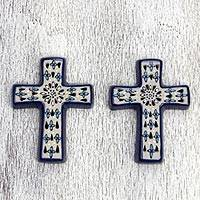 Ceramic crosses, 'Christian Faith' (pair) - Mexico Artisan Crafted Ceramic Christian Crosses (Pair)
