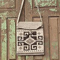 Wool flap bag, 'Zapotec Maze' - Zapotec Shoulder Bag Woven by Hand