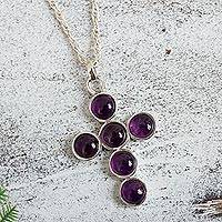 Amethyst cross necklace,