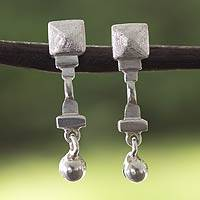 Sterling silver dangle earrings, 'Palenque' - Sterling Silver Pyramidal Earrings Handcrafted in Mexico