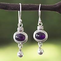 Amethyst dangle earrings, 'Quetzals' - Artisan Crafted Sterling Silver and Amethyst Earrings