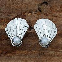 Cultured pearl clip on earrings, Marine Muse