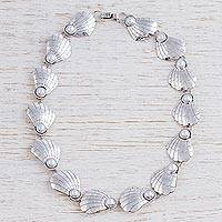 Cultured pearl link necklace, 'Marine Muse' - Taxco Necklace Silvery White Pearls on Silver Shells