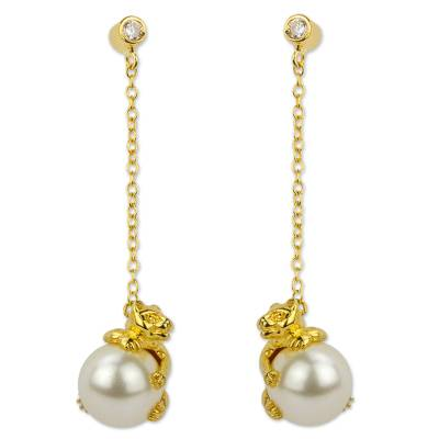 Gold Plated and Swarovski Crystal Pearl Earrings