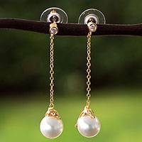 Gold plated and faux pearl dangle earrings, 'Dolphin Joy' - Handcrafted Gold Plate and Swarovski Crystal Pearl Earrings