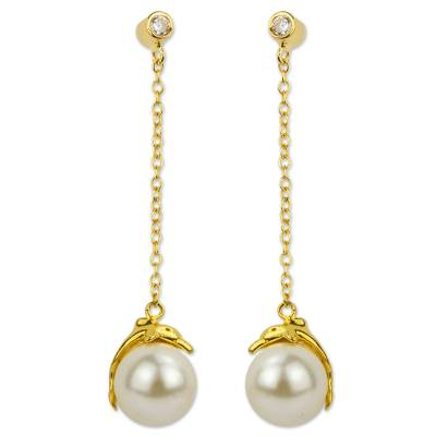 Handcrafted Gold Plate and Swarovski Crystal Pearl Earrings