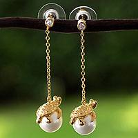 Gold plated and faux pearl dangle earrings, 'Turtle Touch' - Swarovski Crystal Pearl and Gold Plate Earrings from Mexico