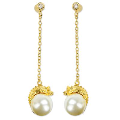 Gold Plate and Swarovski Crystal Pearl Chameleon Earrings