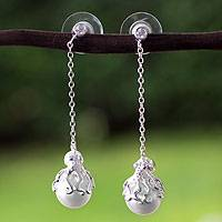 Sterling silver faux pearl dangle earrings, 'Octopus' - Sterling Silver and Faux Pearl Octopus Dangle Earrings