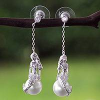 Sterling silver and faux pearl dangle earrings, 'Silver Mermaid' - Artisan Crafted Sterling Silver and Faux Pearl Earrings