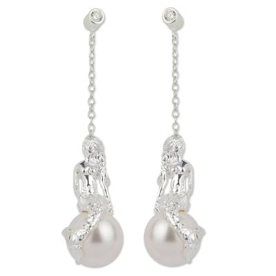 Artisan Crafted Sterling Silver and Faux Pearl Earrings