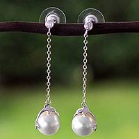Sterling silver faux pearl dangle earrings, 'Dolphin Joy' - Mexican Handcrafted Sterling Silver and Faux Pearl Earrings