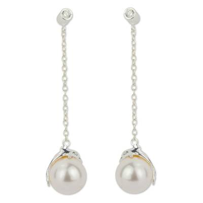 Mexican Handcrafted Sterling Silver and Faux Pearl Earrings