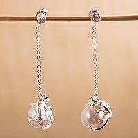 Sterling silver and faux pearl dangle earrings, 'Curious Kitty' - Sterling Silver Cat Earrings with Swarovski Crystal Pearl