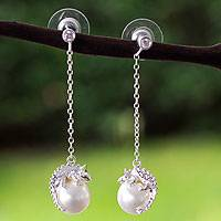 Sterling silver and faux pearl dangle earrings, 'Bright Chameleon' - Sterling Silver Chameleon Swarovski Crystal Pearl Earrings