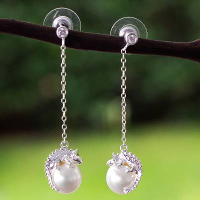 Sterling silver and faux pearl dangle earrings, Bright Chameleon