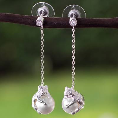 Sterling silver and faux pearl dangle earrings, 'Bear Hug' - Mexican Sterling Silver Bear Swarovski Dangle Earrings