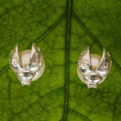 Sterling silver stud earrings, 'Lucky Ladybug' - Sterling Silver Stud Earrings with Faux Crystal Pearls