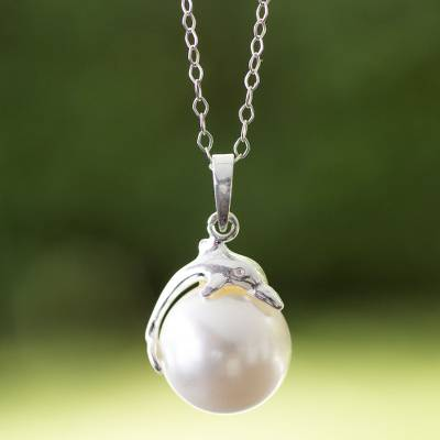 Sterling silver and faux pearl pendant necklace, 'Dolphin Joy' - Swarovski Crystal Pearl on Sterling Silver Dolphin Necklace