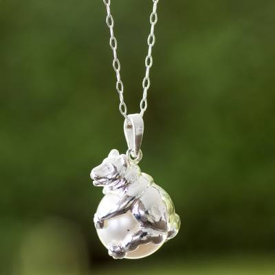 Sterling silver pendant necklace, 'Bear Hug' - Swarovski Crystal Pearl on Sterling Silver Pendant Necklace