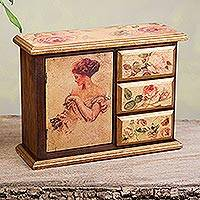 Decoupage mini chest, 'Lady with a Cat' - Mexican Hand Crafted Romantic Decoupage Mini Chest