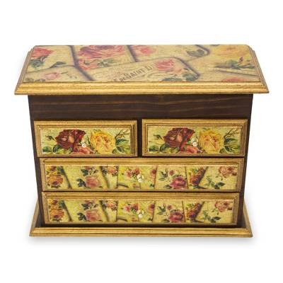 Decoupage jewelry box, 'Rose Romance' - Fair Trade Romantic Floral Decoupage Jewelry Box